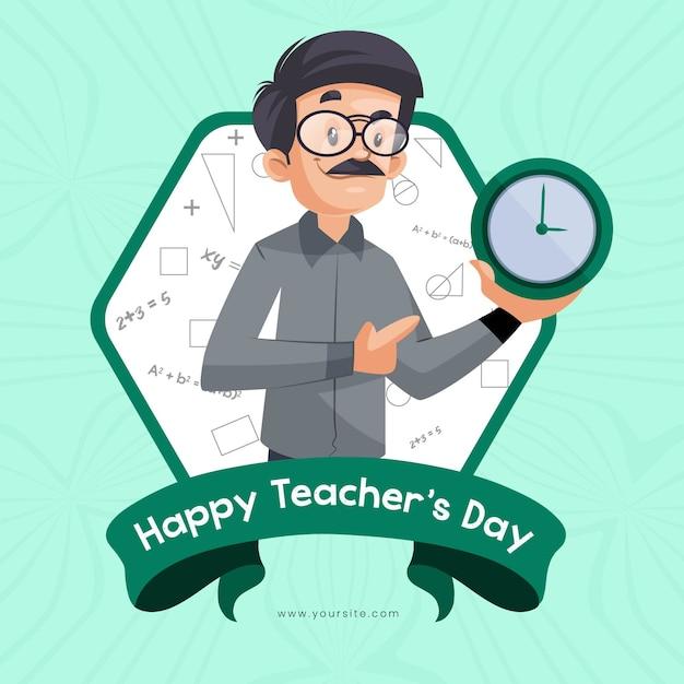 Fahnenentwurf für glücklichen lehrertag mit lehrer, der uhr zeigt Premium Vektoren