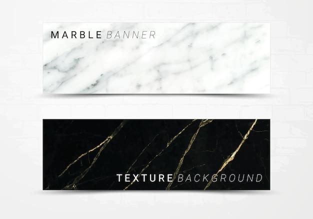 Fahnenschablone des schwarzweiss-marmorbeschaffenheitshintergrundes. Premium Vektoren