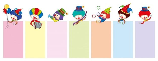 Fahnenschablonen mit glücklichen clownen und werkzeugen Kostenlosen Vektoren