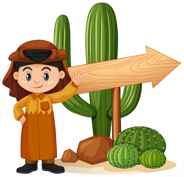Fahnenschablonendesign mit jungen und kaktus Kostenlosen Vektoren
