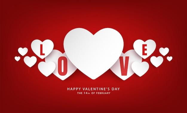 Fahnenvektordesign des glücklichen valentinstags Premium Vektoren