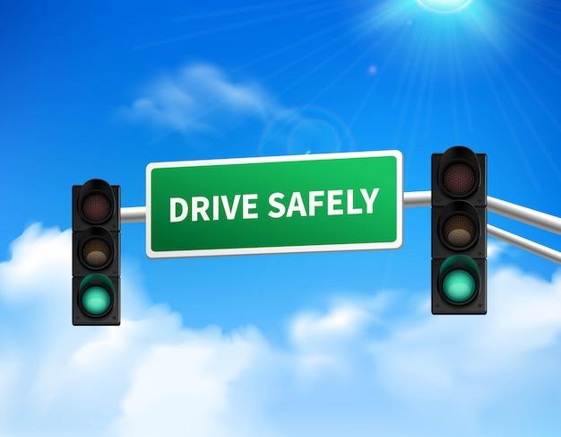 Fahren sie sicher erinnerungsmarkierungs-verkehrsschild für autobahnsicherheitsbewusstsein gegen blauen himmel Kostenlosen Vektoren