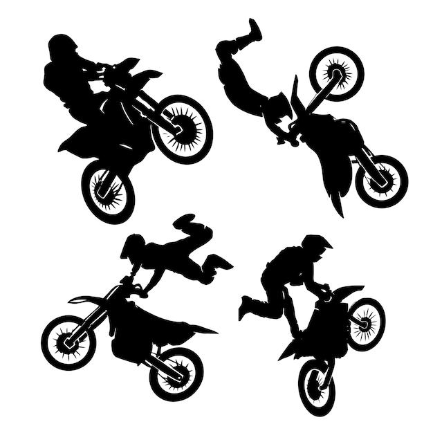 Fahrer-motocross-set-logo-designs Premium Vektoren