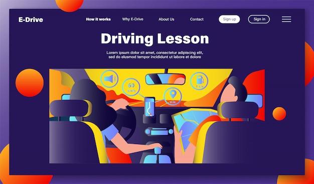 Fahrer und beifahrer navigieren auf der straße innerhalb der karte Kostenlosen Vektoren
