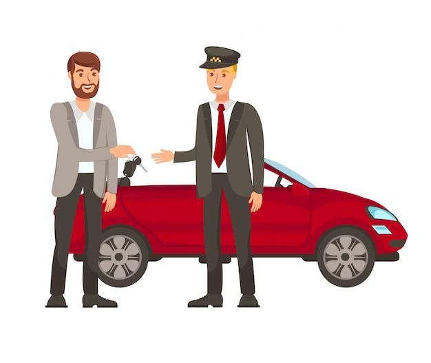 Fahrer- und passagier-flache vektor-illustration Premium Vektoren