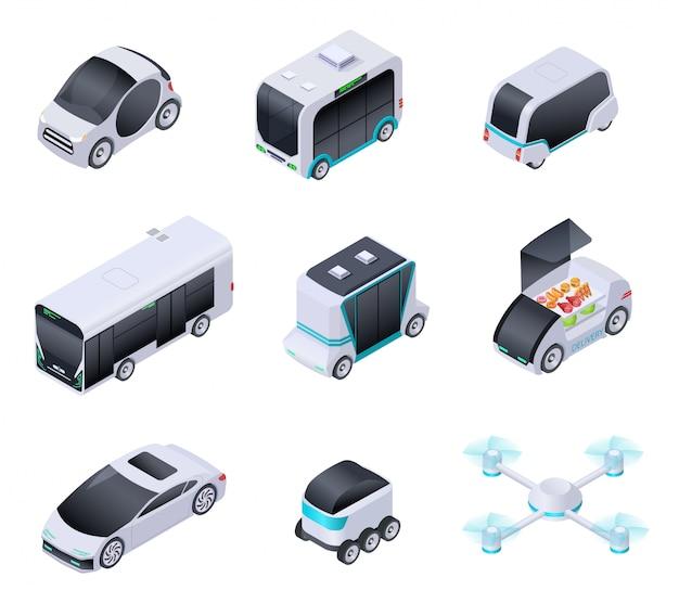 Fahrerlose autos. zukünftige intelligente fahrzeuge. unbemannter stadtverkehr, autonomer lkw und drohne. isometrische vektor isolierte symbole Premium Vektoren