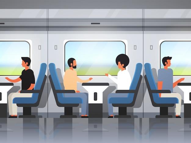 Fahrgäste im modernen schnellzug Premium Vektoren