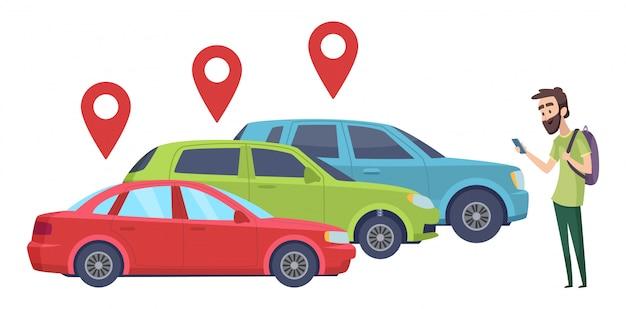 Fahrgemeinschaft. mann auf der suche nach fahrzeug mit smartphone-app. auto online mieten Premium Vektoren