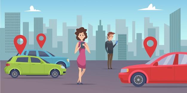 Fahrgemeinschaft. mann und frau suchen fahrzeug mit smartphone-app. auto online mieten Premium Vektoren
