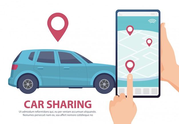 Fahrgemeinschaft. mietwagen online mobile app webseite konzept. fahrzeug auf kartenabbildung finden. blaues auto, smartphone, hände Premium Vektoren