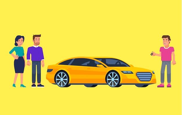 Fahrgemeinschaft und carsharing. glückliche menschen vor dem auto. mit dem auto reisen. illustration Premium Vektoren