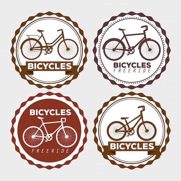 Fahrrad-emblem setzen Kostenlosen Vektoren