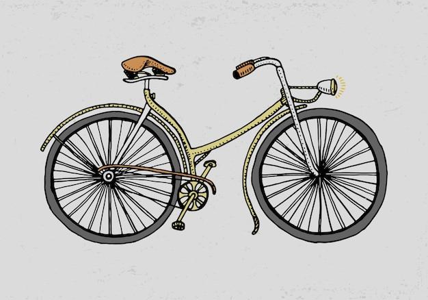 Fahrrad, fahrrad oder velocipede. reiseillustration. gravierte hand gezeichnet im alten skizzenstil, weinlesetransport. Premium Vektoren