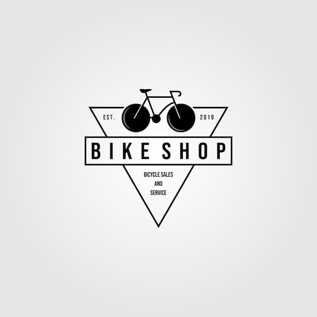 Fahrrad fahrrad shop logo dreieck minimalistische vintage icon design illustration Premium Vektoren