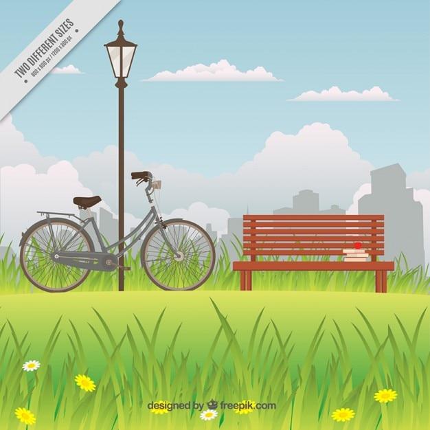 Fahrrad in der n he der bank in einem park hintergrund for Wildparks in der nahe