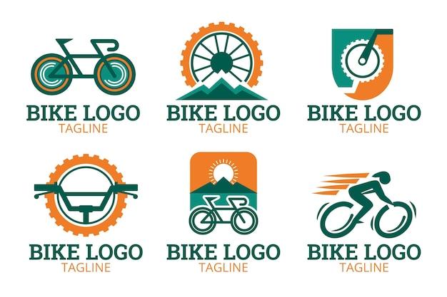 Fahrrad-logo-kollektion im flachen design Kostenlosen Vektoren