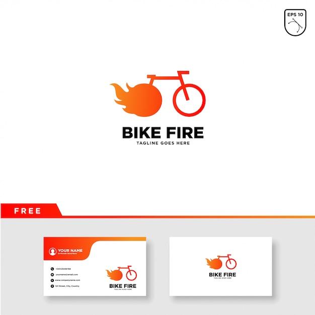 Fahrrad-logo mit feuer- und visitenkarteschablone Premium Vektoren