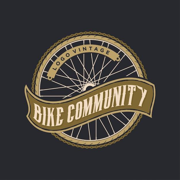 Fahrrad logo vintage Premium Vektoren