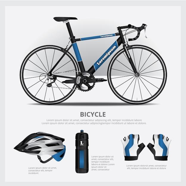 Fahrrad mit zusätzlicher vektorabbildung Premium Vektoren