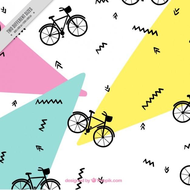 Fahrrad-muster in memphis stil Kostenlosen Vektoren