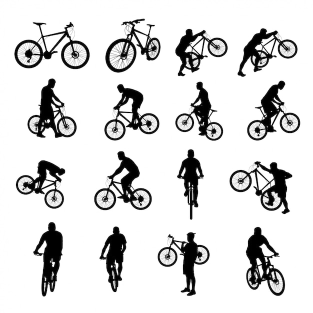 Fahrrad schwarz eingestellt Premium Vektoren