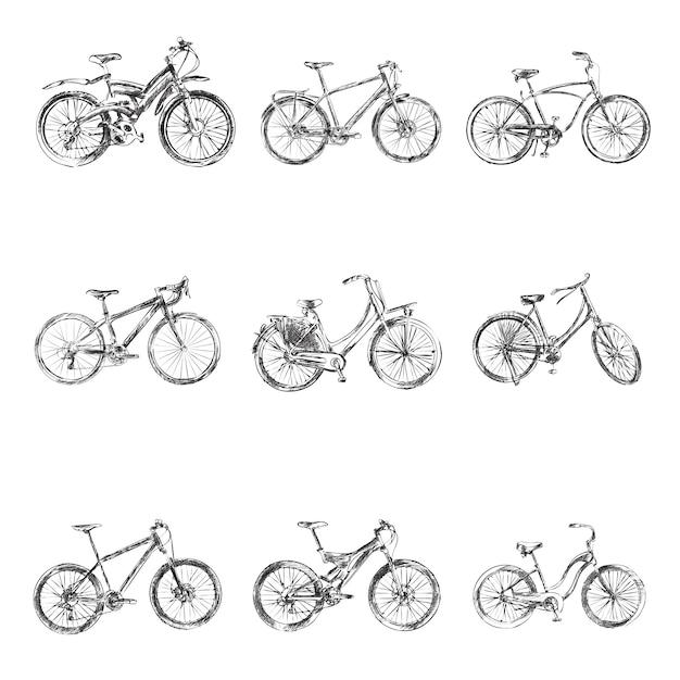 Fahrrad-skizzen Premium Vektoren