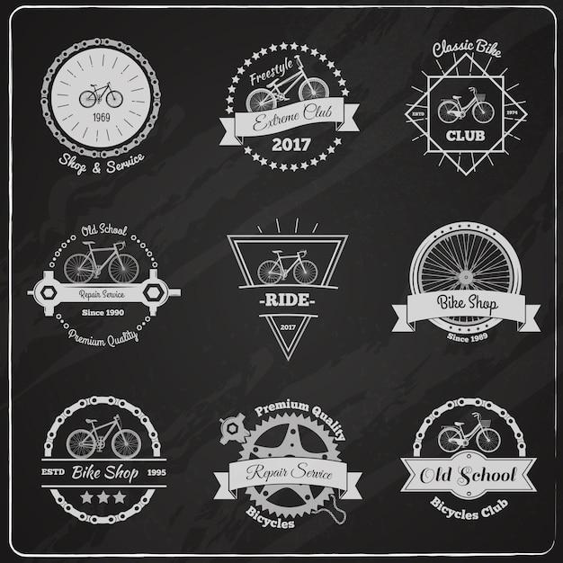 Fahrrad tafel embleme set Kostenlosen Vektoren