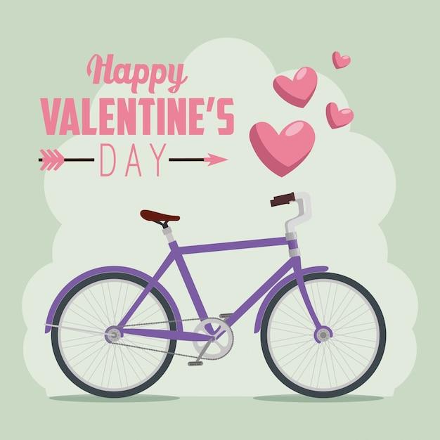 Fahrrad zum valentinstag feiern Kostenlosen Vektoren