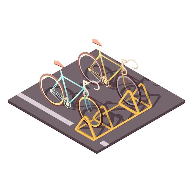 Fahrradparkkonzept mit isometrischer vektorillustration der stadtfahrradfahrsymbole Kostenlosen Vektoren