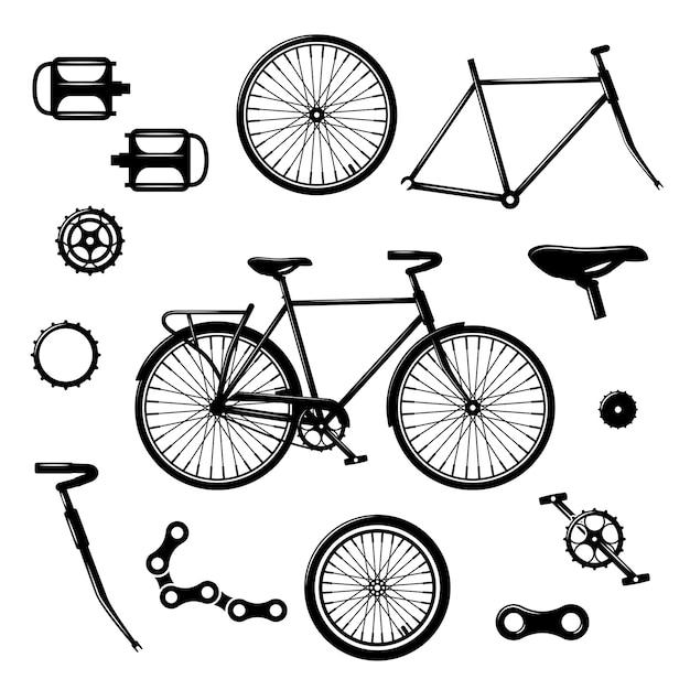 Fahrradteile. fahrradausrüstung und komponenten lokalisierter vektorsatz Premium Vektoren