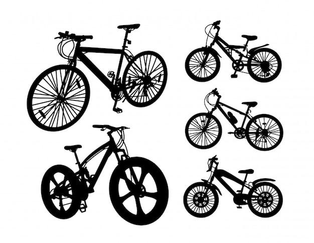 Fahrradtransportschattenbildsatz Premium Vektoren