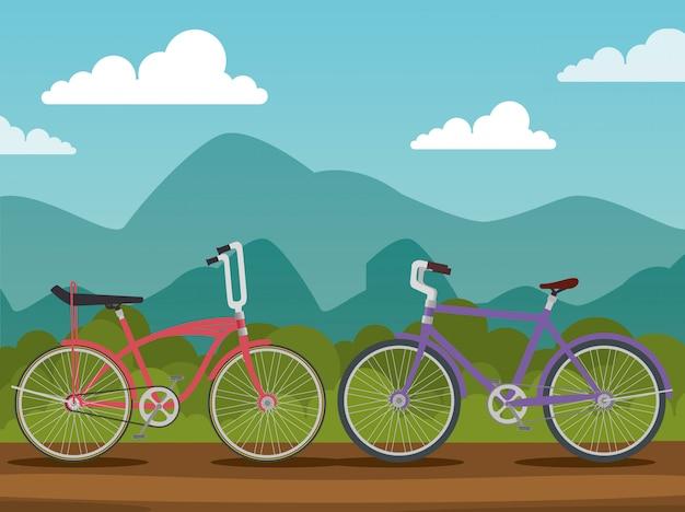 Fahrräder mit blütenblatt und sitz in naturlandschaft Kostenlosen Vektoren