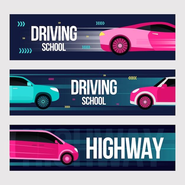 Fahrschulbanner gesetzt. schnelle autos in bewegungsillustrationen mit text und rahmen. Kostenlosen Vektoren