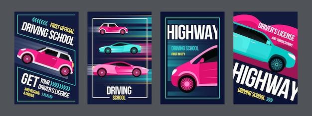 Fahrschulplakate gesetzt. schnelle autos in bewegungsillustrationen mit text und rahmen. Kostenlosen Vektoren