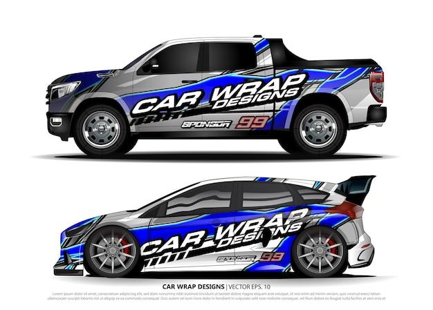 Fahrzeugaufkleberkonzept für rennwagen Premium Vektoren