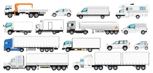 Fahrzeugbranding. transportvorlage für das branding. isolierte leere weiße seite tankanhänger, lkw, van automobil, wohnmobil, cuv auto modell symbol sammlung. fracht, personenkraftwagen Premium Vektoren