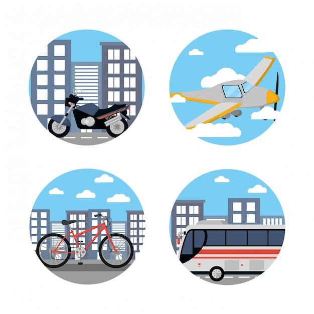 Fahrzeuge des öffentlichen verkehrs Premium Vektoren