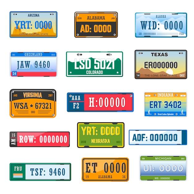 Fahrzeugkennzeichensammlungs-vektorikonen stellten von den verschiedenen landesflaggen ein Premium Vektoren