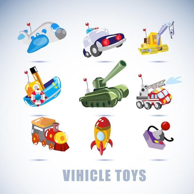 Fahrzeugspielzeug. Premium Vektoren