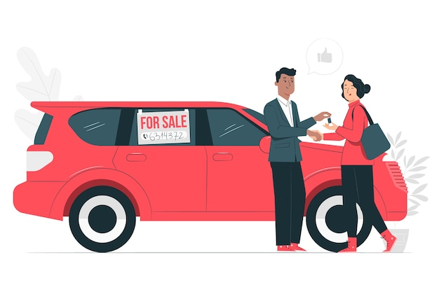 Fahrzeugverkaufskonzeptillustration Kostenlosen Vektoren