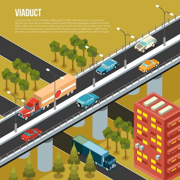 Fahrzeugviaduktbrücke, die verkehr über belebte außenbezirksstadtstraßen und angrenzendes tal isometrische zusammensetzungsvektorillustration trägt Kostenlosen Vektoren