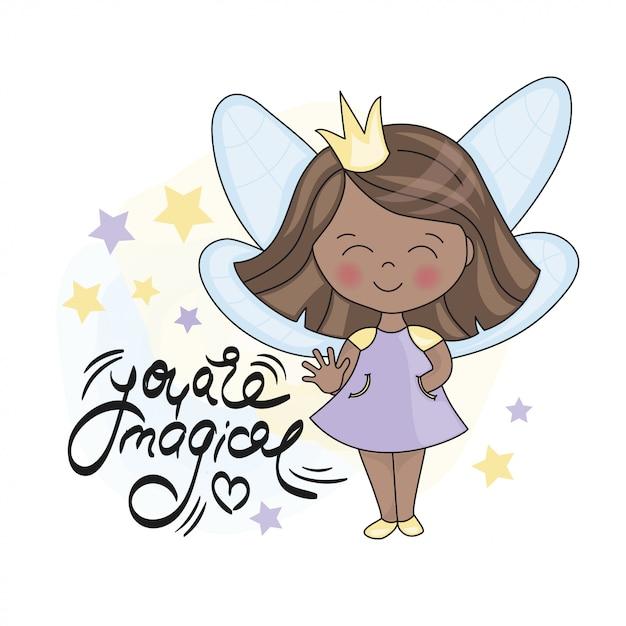 Fairy dark princess und lettering Premium Vektoren