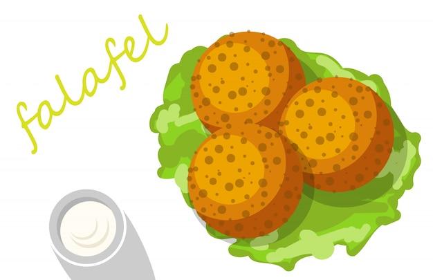 Falafel füllte pittabrot mit gemüse an Premium Vektoren