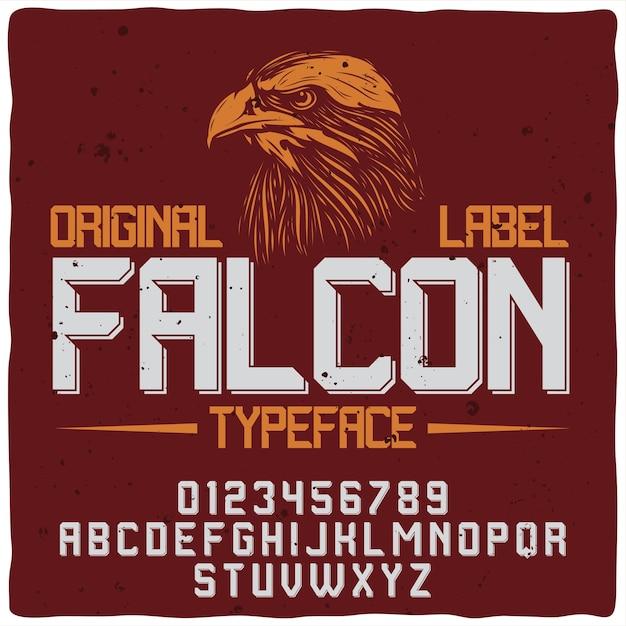 Falcon red label mit schrift Kostenlosen Vektoren