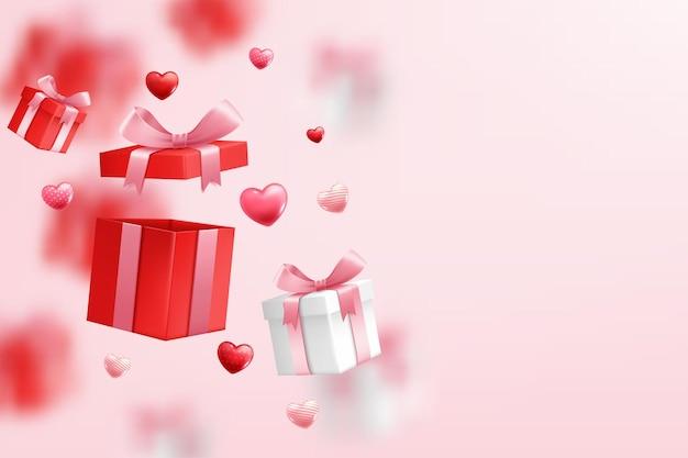 Fallende geschenkbox, valentinstag feiern Kostenlosen Vektoren