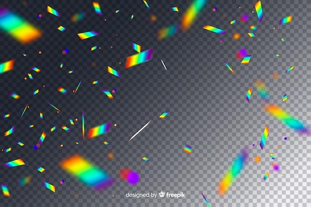 Fallender hintergrund der realistischen holographischen konfettis Kostenlosen Vektoren