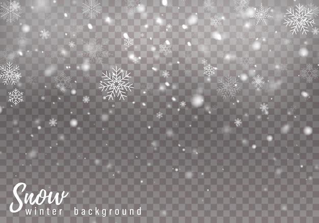 Fallender schnee hintergrund Premium Vektoren