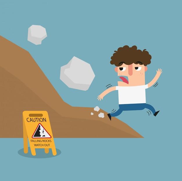 Falling rock vorsicht zeichen Premium Vektoren