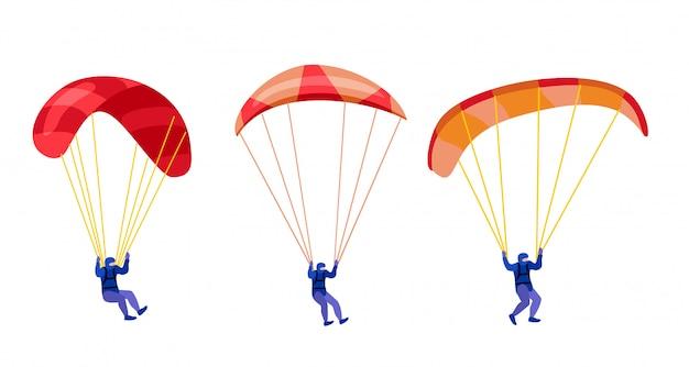 Fallschirmjäger, die mit gesetzten fallschirmen absteigen. paraglide und fallschirmspringen charaktere auf weiß, paraglider und fallschirmspringer illustration, fallschirmspringer hobby und sportliche aktivitäten Premium Vektoren
