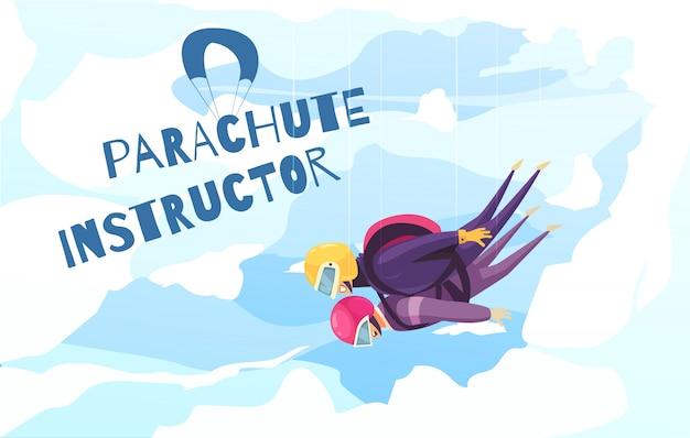 Fallschirmspringen mit flacher abstrakter werbung des berufslehrers mit tandemfallschirmsprungwolken Kostenlosen Vektoren